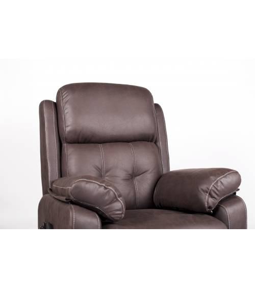 Sillón relax DAMEN, butaca reclinable motorizada color Piedra sistema levanta- personas con mando eléctrico