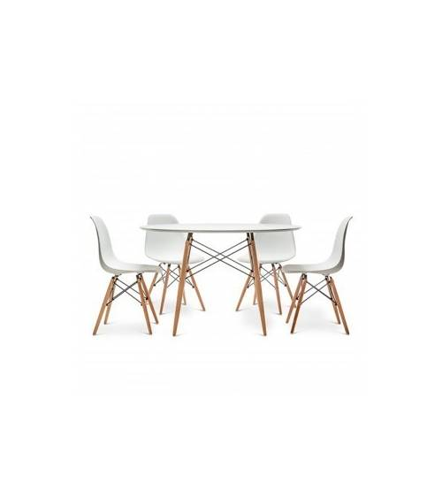 Conjunto comedor TOWER, pack mesa redonda + 4 sillas estilo nórdico color blanco y madera haya