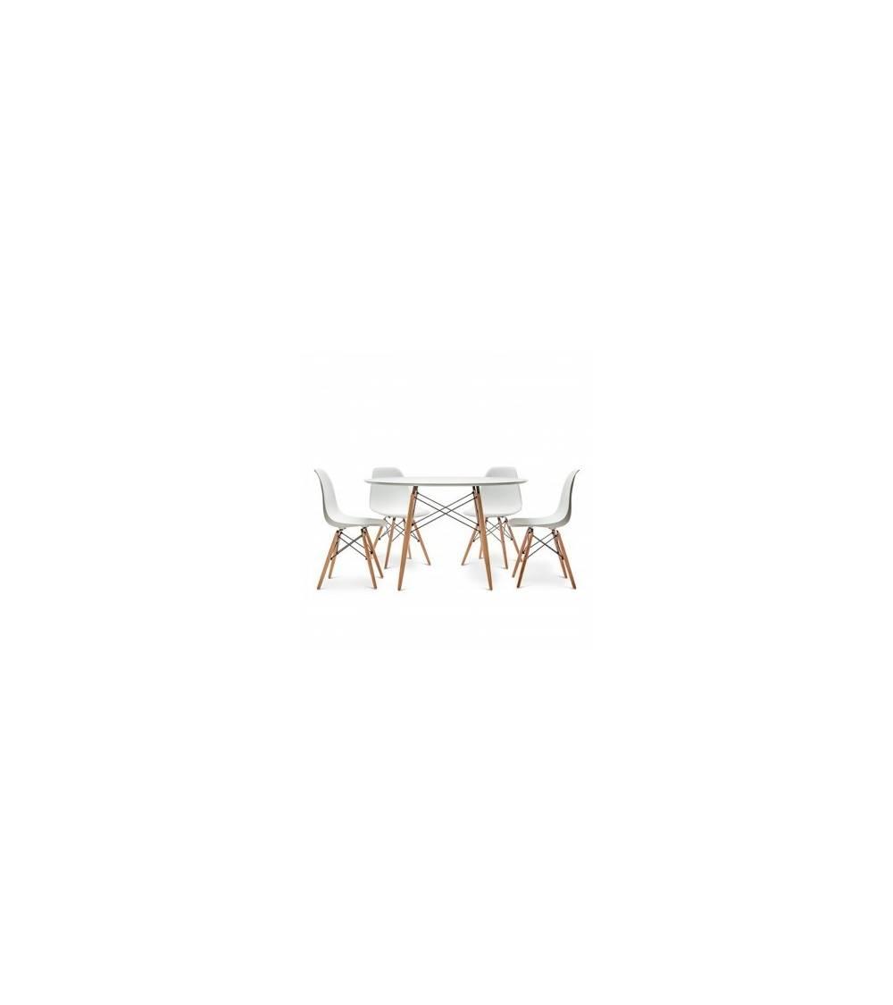 Replica Mesa Tower 080 R + 4 sillas Eames Blanca