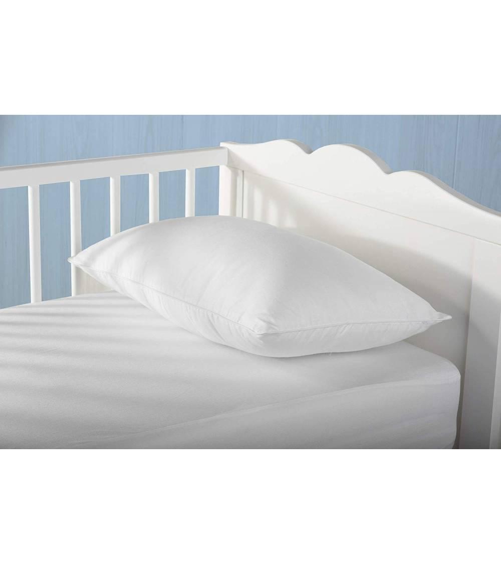 Almohada de fibra para bebé, antiácaros, funda 100% algodón, firmeza baja, 30x50cm, altura 8cm