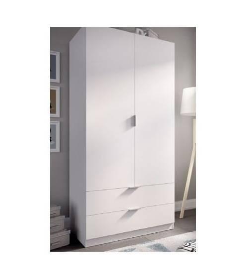 Armario Zen 2 puertas + 2 cajones de 80 cm en blanco