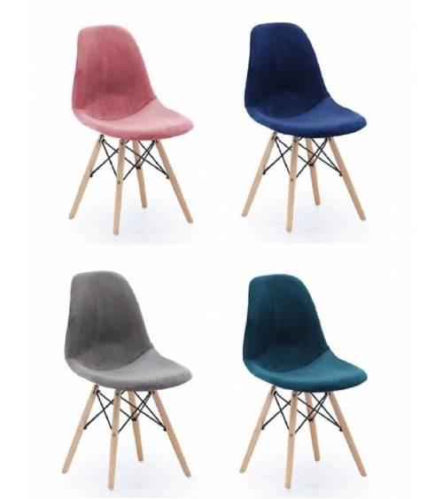 Pack 2 sillas comedor CHARLES tapizada velvet