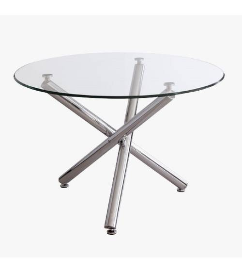 Mesa comedor, REINE mesa salón cristal y patas en metal cromado, diseño circular 110 X 73 cm.