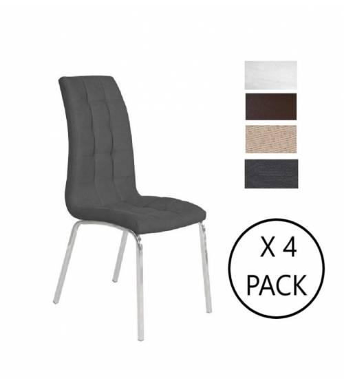 Pack de 4 sillas comedor NAXOS tapizadas en símil piel blanco o marrón y en tela gris o beige, diseño moderno