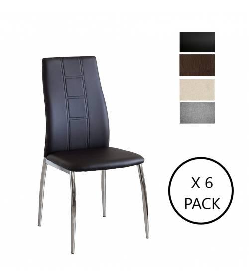 Pack de 6 sillas comedor CORFÚ tapizadas en símil piel negro, marrón y en tela gris o beige, patas metálicas en cromado brillo
