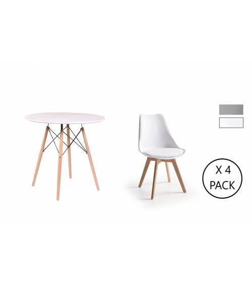 Conjunto comedor NORDIC, pack mesa redonda+4 sillas TULIPA