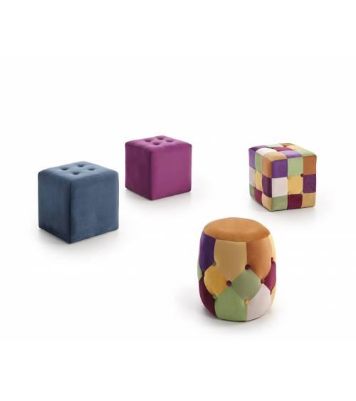 PUF, taburete reposapiés es suave tejido velvet en forma cubica o cilíndrica