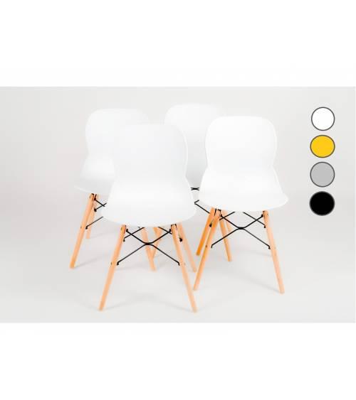 Pack 4 sillas comedor salón DREAMS, con patas en madera, estilo nórdico