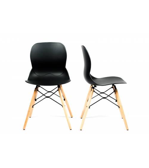 Pack de 2 sillas comedor salón DREAMS, con patas en madera, estilo nórdico.