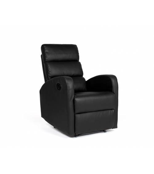 Sillón relax, GINGER butaca reclinable, sistema apertura mecánico compacto, dos posiciones en polipiel color Negro